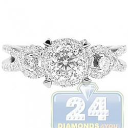 14K White Gold 1.08 ct Diamond Cluster Engagement Ring