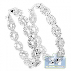 14K White Gold 1.60 ct Diamond Womens Oval Hoop Earrings