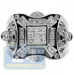 Black PVD 14K Gold 0.82 ct Princess Round Diamond Mens Ring