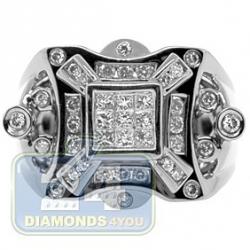 Black PVD 14K Gold 0.82 ct Princess Round Diamond Mens Ring