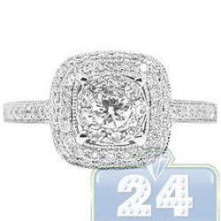 14K White Gold 0.85 ct Diamond High Mounted Engagement Ring