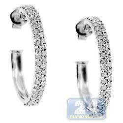 Womens Diamond Round J Shape Hoop Earrings 14K White Gold .93 ct