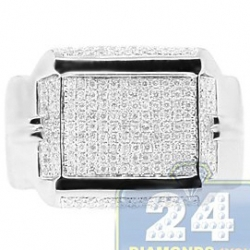 14K White Gold 0.73 ct Round Diamond Mens Rectangle Ring