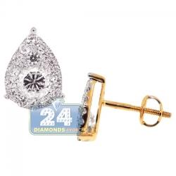 14K Yellow Gold 1.06 ct Diamond Pear Shape Stud Earrings