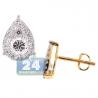 Womens Diamond Pear Shape Stud Earrings 14K Yellow Gold 1.06 ct