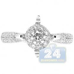 14K White Gold Fancy Prongs 0.85 ct Diamond Engagement Ring