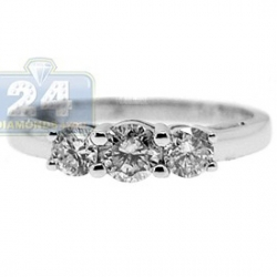 14K White Gold 0.80 ct Diamond 3 Stone Womens Bridal Ring