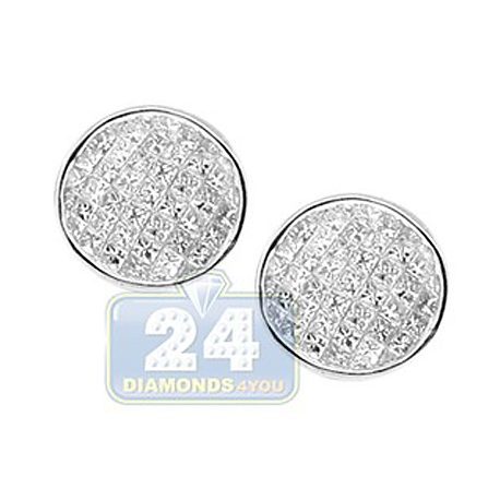 Womens Invisible Princess Diamond Stud Earrings 14K White Gold