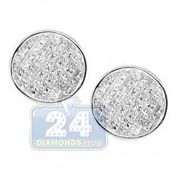14K White Gold 1.70 ct Invisible Princess Diamond Stud Earrings