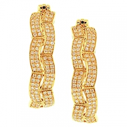 14K Yellow Gold 1.10 ct Diamond Womens Fancy Hoop Earrings