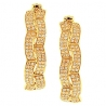 Womens Diamond Fancy Round Hoop Earrings 14K Yellow Gold 1.10 ct