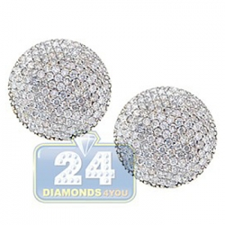 14K Yellow Gold 1.70 ct Diamond Pave Womens Stud Earrings