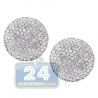 Womens Diamond Pave Round Stud Earrings 14K Yellow Gold 1.70 ct