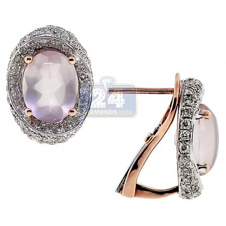 Womens Quartz Diamond Oval Huggie Earrings 14K Rose Gold 5.70 ct
