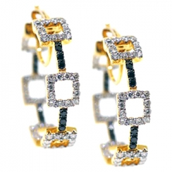 14K Yellow Gold 1.50 ct Diamond Fancy Round Hoop Earrings