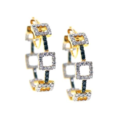 Womens Black Diamond Fancy Hoop Earrings 14K Yellow Gold 1.50 ct