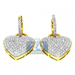 14K Yellow Gold 1.70 ct Diamond Heart Womens Drop Earrings