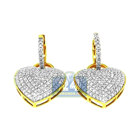 Womens Diamond Pave Heart Drop Earrings 14K Yellow Gold 1.70 ct
