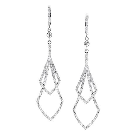 Womens Diamond Dangling Earrings 14K White Gold 1.43 Carat