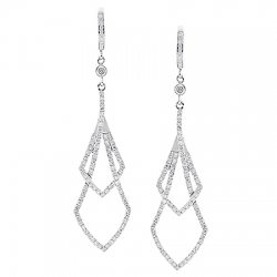 14K White Gold 1.43 ct Diamond Womens Dangling Earrings