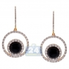 Womens Diamond Drop Hook Earrings 14K Yellow Gold Ceramic 1.31ct