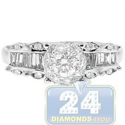 14K White Gold 1.11 ct Diamond Vintage Engagement Ring