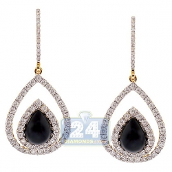 14K Yellow Gold Ceramic 1.46 ct Diamond Pear Shape Hook Earrings