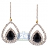 Womens Diamond Pear Shape Hook Earrings 14K Yellow Gold Ceramic