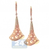 Womens Diamond Handbell Dangle Earrings 14K Rose Gold 0.36 ct