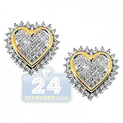 14K Yellow Gold 1.30 ct Diamond Heart Womens Stud Earrings