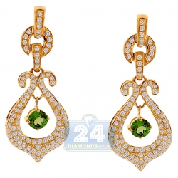14K Yellow Gold 2.21 ct Diamond Peridot Womens Dangle Earrings