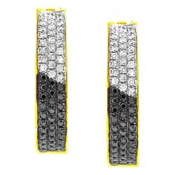 Womens Zebra Diamond Round Hoop Earrings 14K Yellow Gold 0.95 ct