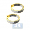 Womens Zebra Diamond Round Hoop Earrings 14K Yellow Gold 0.95 ct