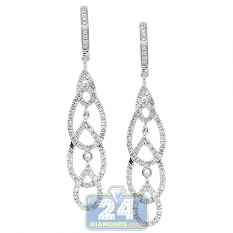 Womens Diamond Open Dangle Earrings 14K White Gold 0.66 carat