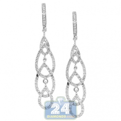 14K White Gold 0.66 ct Diamond Womens Open Dangle Earrings