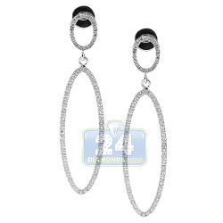 14K White Gold 0.77 ct Diamond Open Oval Dangle Earrings