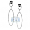 Womens Diamond Open Oval Dangle Earrings 14K White Gold 0.77 ct