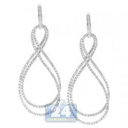 14K White Gold 1.36 ct Diamond Open Infinity Dangle Earrings