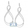 Womens Diamond Open Infinity Dangle Earrings 14K White Gold 1.36 ct