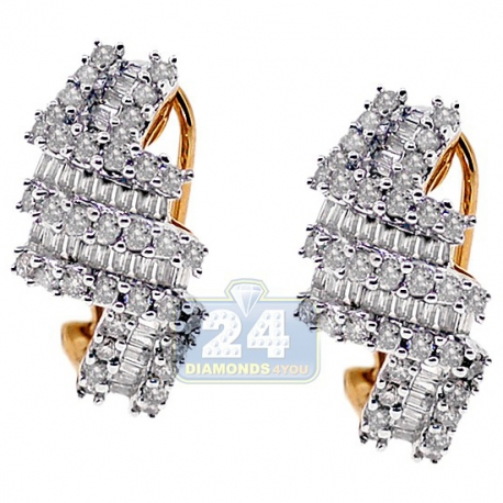 Womens Diamond Cluster Huggie Earrings 14K Yellow Gold 1.36 ct