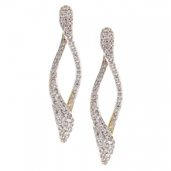 14K Yellow Gold 1.21 ct Diamond Loop Womens Dangle Earrings