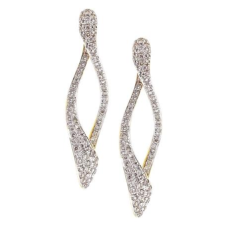 Womens Diamond Loop Dangle Earrings 14K Yellow Gold 1.21 Carat