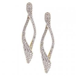 14K Yellow Gold 1.21 ct Diamond Loop Womens Dangle Earrings