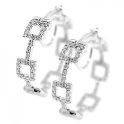 Womens Diamond Fancy Round Hoop Earrings 14K White Gold 1.51 ct