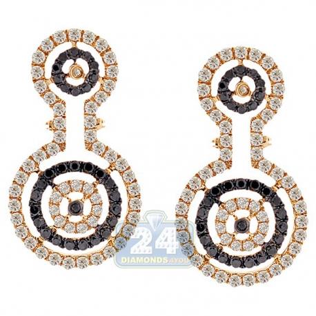 Womens Black Diamond Halo Drop Earrings 14K Yellow Gold 1.61 ct