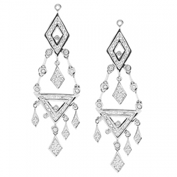 14K White Gold 0.96 ct Diamond Womens Chandelier Earrings