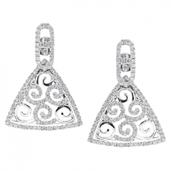 14K White Gold 0.90 ct Diamond Womens Triangle Dangle Earrings