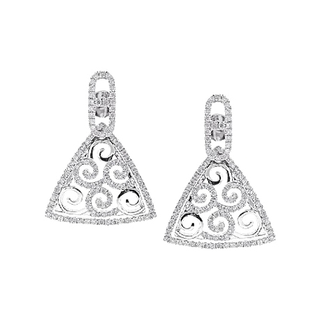 Womens Diamond Triangle Dangle Earrings 14K White Gold 0.90 ct
