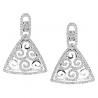 Womens Diamond Triangle Dangle Earrings 14K White Gold 0.90 ct