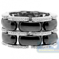 14K White Gold Black Ceramic 0.48 ct Diamond Womens Ring